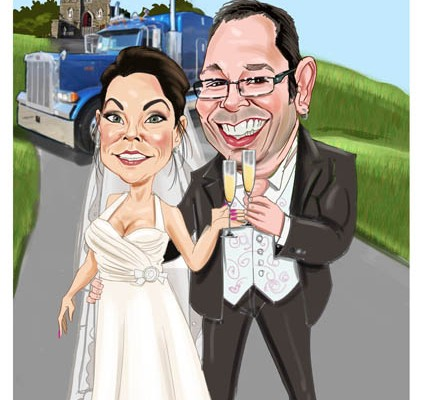 Caricature wedding guest book