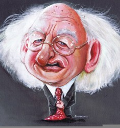 Irish President Michael Higgins Caricature