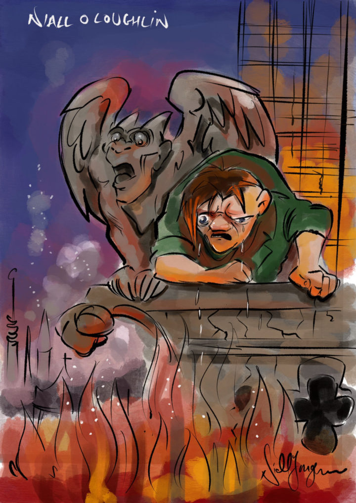 Notre Dame Fire cartoon