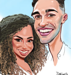 Greg & Amber love Island Caricature